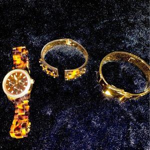 Michael kors watch and 2 bracelet lot